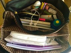 """changing-bad-habits: """"+ planning out the week ahead in the kikki k study diary and sorting out my bag for uni! Inside My Bag, What's In My Purse, Study Organization, School Bag Organization, College Bags, School Study Tips, School Essentials, Purse Essentials, Study Hard"""