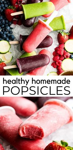 This Homemade Fruit Popsicle recipe is an easy, healthy and refreshing summer treat or snack! These popsicles are made with only 5 ingredients including fresh fruit and vegetables, in 5 minutes (plus freezing time)! Make a variety of flavors by using diff Desserts Keto, Healthy Fruit Desserts, Mini Desserts, Healthy Fruits, Homemade Fruit Popsicles, Healthy Popsicles, Oreo Dessert, Dessert Ideas, Dessert Weight Watchers