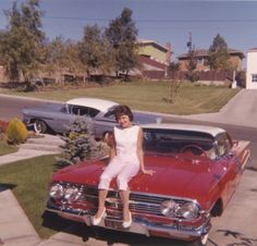 Contrary to persistent rumor, the girl posing on the hood of this 1960 Chevrolet Impala Sport Coupe IS NOT Mary Barra, the current CEO of General Motors. The wrong-way parked Chevrolet on the street IS a Bel Air Impala. Retro Cars, Vintage Cars, Antique Cars, Vintage Pictures, Vintage Images, Vintage Ideas, Girls Slip, Old Classic Cars, Chevy Impala