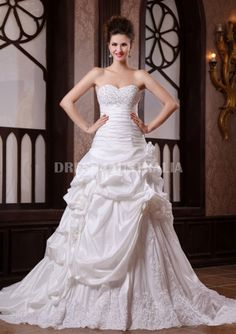 A-Line White Beading Sweetheart Neckline Taffeta Pick-Ups Lace Up Wedding Dresses Gowns