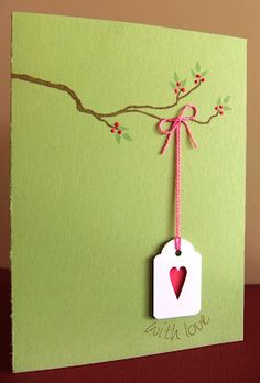 Heart tag hanging from a branch - simple but gorgeous