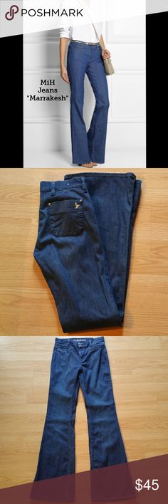 """MiH Jeans Marrakesh Mid Rise Kick Flare Jeans These jeans are preloved but still in very good condition. These are the Marrakesh Mid Rise, Kick Flare jeans. Style # WJ97IW - 36 Leg. Made of 98% Cotton 2% EA. Tag size is 27.  Waist across with natural dip is 13.5"""" Waist across when aligned is 14"""" Front Rise is 8.5"""" Inseam is 35"""" MiH Jeans Jeans Flare & Wide Leg"""