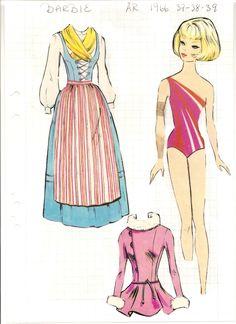 (⑅ ॣ•͈ᴗ•͈ ॣ)♡                                                            ✄Swedish Barbie paper doll, 1966