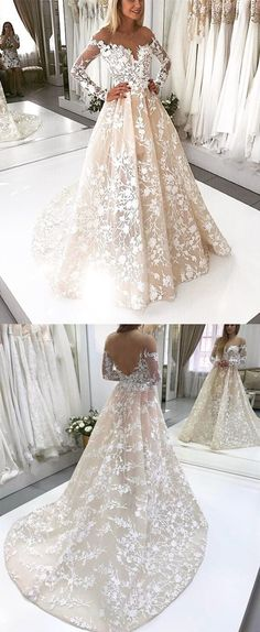 Champagne Lace Tulle Neckline Long Sleeves Wedding Dresses,811011