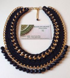 Crochet necklace on chain with natural stones