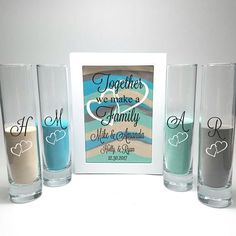 This Blended Family Wedding Sand Ceremony Shadow Box Set, Unity Candle Alternative, Together We Make a Family, Blended Family Sand Frame and Sand is just one of the custom, handmade pieces you'll find in our weddings shops. Shadow Box, Unity Candle Alternatives, The Wedding Date, Fall Wedding, Lettering, Sand Unity Ceremony, Wedding Sand Ceremony, Wedding Unity Ideas, Wedding Rustic