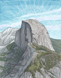 Half Dome Archival Print Rock Climbing Art Giclee Print - Half Dome, Yosemite National Park, California - Watercolor and Pen Landscape Painting Parc National, Yosemite National Park, National Parks, Landscape Prints, Landscape Art, Landscape Paintings, Painting Inspiration, Art Inspo, Escalade