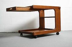 Vtg 60s Danish Tea Cart Mid Century Modern Teak Wood Denmark Bar Trolley Serving