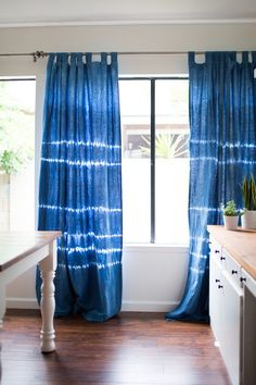 Indigo Shibori Curtains by IndigoMoonLove on Etsy