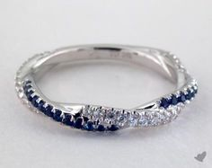 53218 wedding rings, stackable, 14k white gold blue sapphire and diamond engagement ring item - Mobile