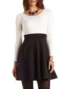 Sheer-Striped Skater Dress: Charlotte Russe