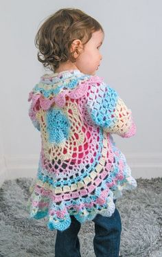 Circular Crochet Jacket Toddler Lots of free crochet patterns! Poncho Crochet, Pull Crochet, Crochet Jacket, Crochet Granny, Crochet Toddler Sweater, Toddler Cardigan, Toddler Vest, Crotchet, Toddler Girl