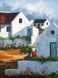 Landscape Paintings Oil Painting - White Wash Beach Houses by Colin Wilkinson Simple Oil Painting, Oil Painting Flowers, Painting Still Life, Oil Painting Abstract, House Painting, Watercolor Paintings, Painting Trees, Landscape Art, Landscape Paintings
