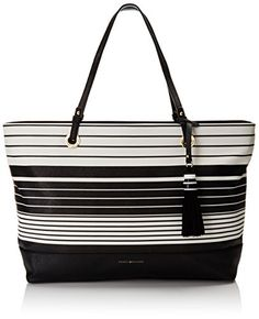 Tommy Hilfiger Tote Bag for Women Grace BlackWhite >>> To view further for this item, visit the image link. (This is an affiliate link) Tommy Hilfiger Tote Bags, Discount Shoes, Leather Handbags, Fashion Backpack, Toms, Reusable Tote Bags, Purses, Fashion Design, Black