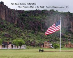 What I think the parade grounds at Fort Robertson look like. (This is actually the parade grounds of Fort Davis.) You can also see Officer's Row (left) and the homes of the captain and general in the background. Texas Vacations, Texas Roadtrip, Texas Travel, Dark Places, Places To Go, Fort Davis Texas, Alpine Texas, Only In Texas, Old Fort