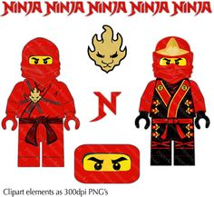 Red Ninja  Minifig Clipart  Digital Collage PNG files