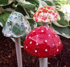 Ceramic mushrooms  - Three large hand crafted ceramic mushrooms by FabulousFungi…