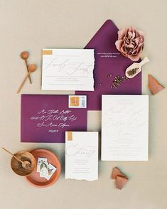 This plant filled wedding with a mustard and purple color palette was full of unique details. With a rustic traditional vibe the day was filled with love! Plum Wedding, Fall Wedding, Dream Wedding, Wedding Stuff, Purple Wedding Invitations, Wedding Invitation Design, Wedding Stationary, Invites, Plant Wedding Favors
