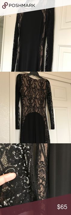 Mystic Large Black Prom Dress Only worn once, it's in perfect condition! It also has a slit on the left side of the dress. Still has the plastic wrap it came in. Looks beautiful! Mystic Dresses Prom