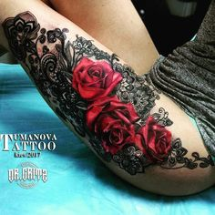 Lace rose tattoos, girly tattoos, sexy tattoos, body art tattoos, back leg Tattoo Girls, Girl Tattoos, Tatoos, Body Art Tattoos, Sleeve Tattoos, Girly Sleeve Tattoo, Tattoo Drawings, Tigh Tattoo, Rose Tattoo Thigh