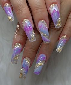 beautiful coffin nails in 2019 to inspire you - Coffin Nails - . - Nageldesign beautiful coffin nails in 2019 to inspire you – coffin nails – inspire nail - Purple Acrylic Nails, Summer Acrylic Nails, Best Acrylic Nails, Purple Nails, Gold Nail, Summer Nails, Gold Glitter, Cute Acrylic Nail Designs, Beautiful Nail Designs