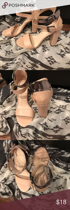 Strappy trendy blush and metallic heels Only worn to a formal once so cute and comfortable the color is a blush with a silver metallic strap the heel is 3inches Forever 21 Shoes Heels