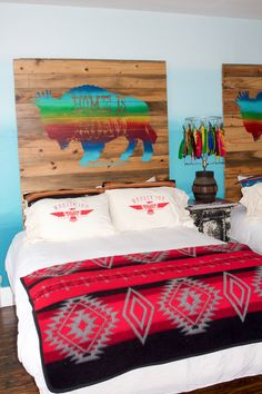 colorful wooden headboards and bedding