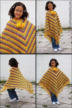 Another Classic Crochet Poncho Pattern - Junior Size - Coffee and Vanilla