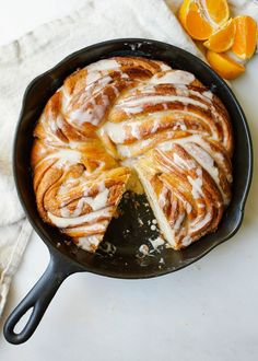 Orange Swirl Bread - a cinnamon- swirled yeast bread twisted with orange zest and drizzled with orange glaze. Served warm, this is an excellent breakfast treat but is also perfect for nibbling on at dessert. Bakery Recipes, Brunch Recipes, Breakfast Recipes, Dessert Recipes, Yummy Recipes, Cast Iron Cooking, Cooking Bread, Cooking Rice, Cooking Games