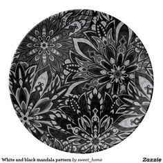 White and black mandala pattern porcelain plate  #Home #decor #Room #Interior #decorating #Idea #Styles #Traditional #Boho #Indian #Vintage #floral #motif