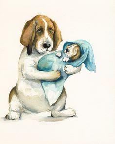 Norma's New Baby- nursey art, basset hound. $17.00, via Etsy.
