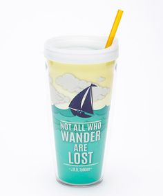 Look at this #zulilyfind! Teal 'Not All Who Wander Are Lost' 22-Oz. Tumbler by Signature Tumblers #zulilyfinds