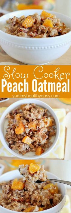 Incredibly EASY Slow Cooker Peach Oatmeal! A healthy and easy breakfast recipe the whole family will love! AD