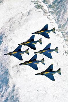 ♂ Aircrafts above snow mountain F-4 Blue Angels Diamond Formation