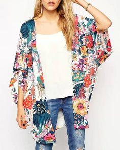 Elegante sin cuello media manga Impreso Kimono blusa para las mujeres