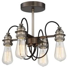 Minka Lavery Uptown Edison 4-Light Harvard Court Bronze Semi Flush Mount-4454-784 - The Home Depot