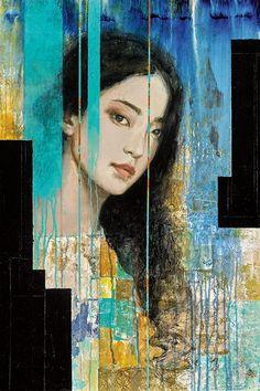 Abstract Portrait, Portrait Art, Art Du Monde, Klimt, William Morris, Figure Painting, Contemporary Paintings, Figurative Art, Altered Art