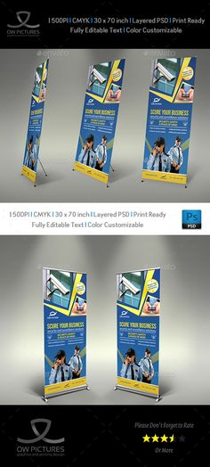 Security System Signage Roll-Up Banner Template PSD