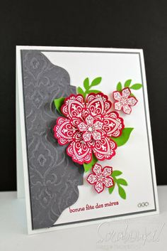 Scrabouki!: Carte de la fête des mères  Carte de souhait avec les produits Stampin'Up! Greeting car with Stampin'Up! products  Mixed Bunch, Petite petals, Big Shot www.scrabouki.com