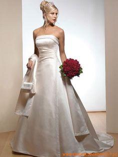 2012 kaufen online klassisches und preiswertes Brautkleid aus Stretchsatin A-Line Trägerlos