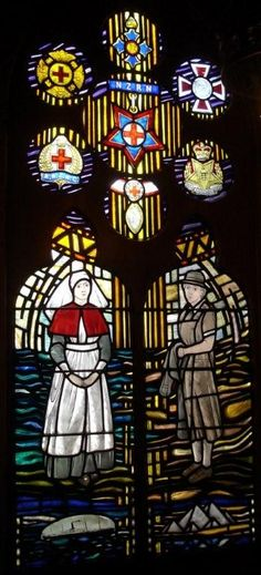 Christchurch Nurses' Memorial Chapel window. This window commemorates the loss of almost 500 N.Z. Nurses, officers and War patients when the ship was torpedoed on 23-10-1915 in the Aegean Sea. Photo taken by Bernard.