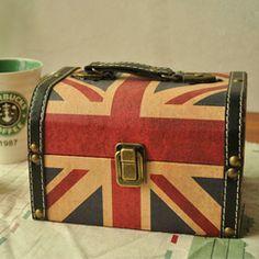 Vintage british style retro finishing torx flag suitcase cosmetic box storage box photography props 1206,24 руб.
