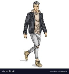 Man model vector image on VectorStock Fashion Design Drawings, Fashion Sketches, Man Sketch, Boy Illustration, Fashion Illustration Dresses, Cartoon Styles, Pink Butik, Designs To Draw, Fashion Art