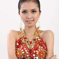 Belly Dance Women's Fashion Ruby Leaves Tassel Metal Necklace – JPY ¥ 634