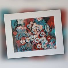 Red Turquoise, Star Art, Acrylic Canvas, Chalk Pastels, Mixed Media Painting, Shades Of Red, Gel Pens, Floral Flowers, Art Ideas