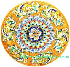 Italian Deruta Ceramic Majolica Plate | 52cm Glazes For Pottery, Ceramic Pottery, Ceramic Decor, Ceramic Art, Talavera Pottery, Italian Pottery, Hand Painted Ceramics, Tile Art, Ceramic Painting