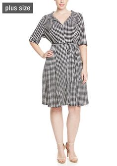d93d66011f3e2 On ideel  JULIAN TAYLOR Shortsleeve Small Checkered Shift Dress with  Designer Collection