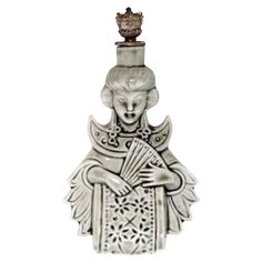 Vintage Schafer & Vater Asian Woman with Hand Fan Crown Top Perfume Bottle
