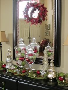 Like the use of the fabric runner for my entry table. Like the use of the fabric runner for my entry table. Christmas Decorations For The Home, Christmas Centerpieces, Christmas Projects, Christmas Tree Decorations, Christmas Ornaments, Christmas Ideas, Christmas Candles, House Decorations, Christmas Balls