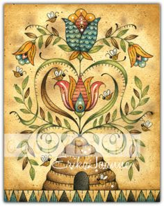 """Paint & Colored Pencil ♥ Mixed-Media Instruction Packet    Where Acrylics & Colored Pencils Share the Same Space! The industry of the small honey bee is amazing and shows us how simply working together in unity can produce sweet results! Design measures 8 x 10"""". """"Bee Fraktur"""" Colored Pencils & Related Products are listed at bottom of page.  Packet Includes  ♥  Palette & Supply List ♥  Detailed & Numbered Instructions ♥  Full-Sized Pattern Drawing ♥  Shading Guide ♥  (2) Step-by-Step…"""